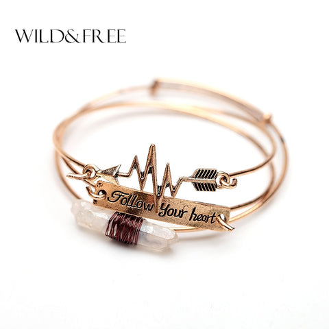 Natural Stone Arrow Follow Your Heart Letter Infinity Bangle for Lover