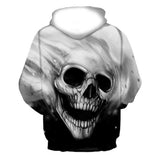 Unisex 3D Printed Skull Pullover Long Sleeve Hooded Sweatshirt