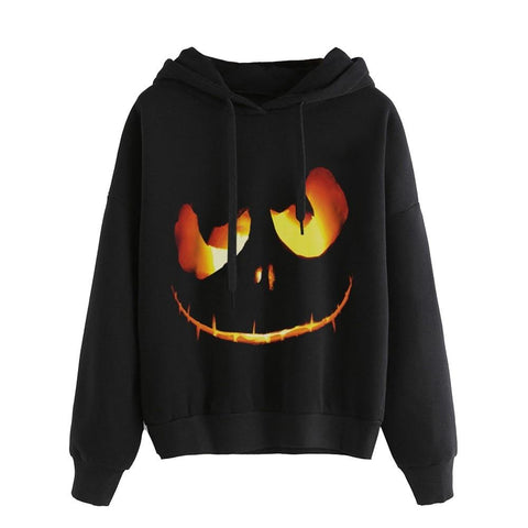 Women Autumn Halloween Pumpkin Devil Sweatshirt Plus Size