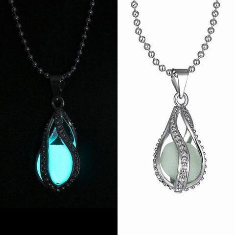 Glowing Necklace Gem Charm  Hollow Luminous Stone