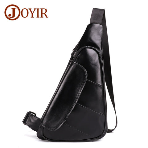 Men Triangle Cow Genuine Leather Shoulder Bags