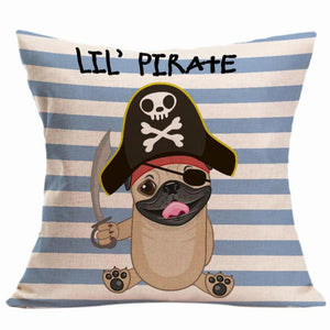 "Pirate Dog Pillow Case - 17.7"" x 17.7"""
