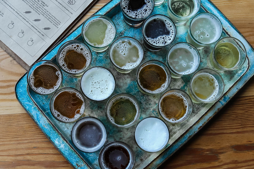 Tray of various samples of beer