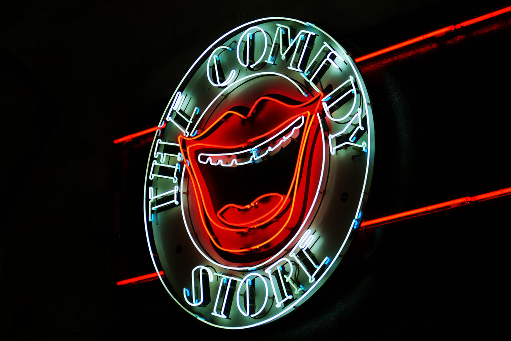 Close-up of The Comedy Store neon sign