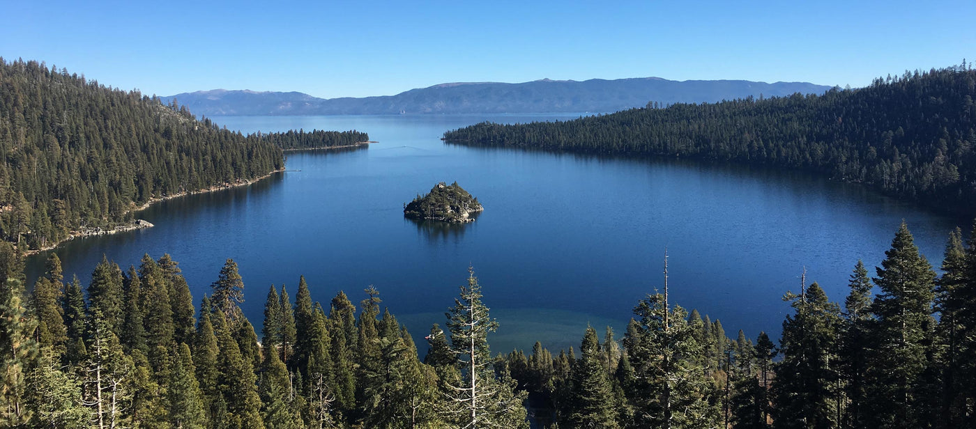 View of Lake Tahoe from Emerald Bay on a clear day