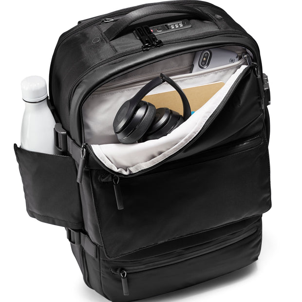 Speck Travel Travel Backpack - Black - Front Pocket and Water Bottle Pocket View