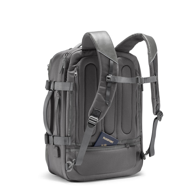 Speck Travel Travel Backpack - Concrete Grey - Three Quarter Rear View