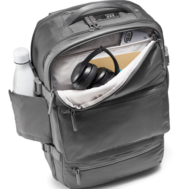 Speck Travel Travel Backpack - Concrete Grey - Front Pocket and Water Bottle Pocket View