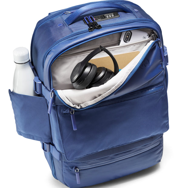 Speck Travel Travel Backpack - Macaw Blue - Front Pocket and Water Bottle Pocket View