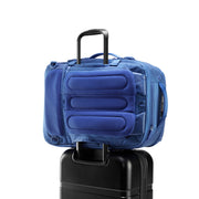 Speck Travel Travel Backpack - Macaw Blue - Rear Pass-Through Sleeve on Luggage View