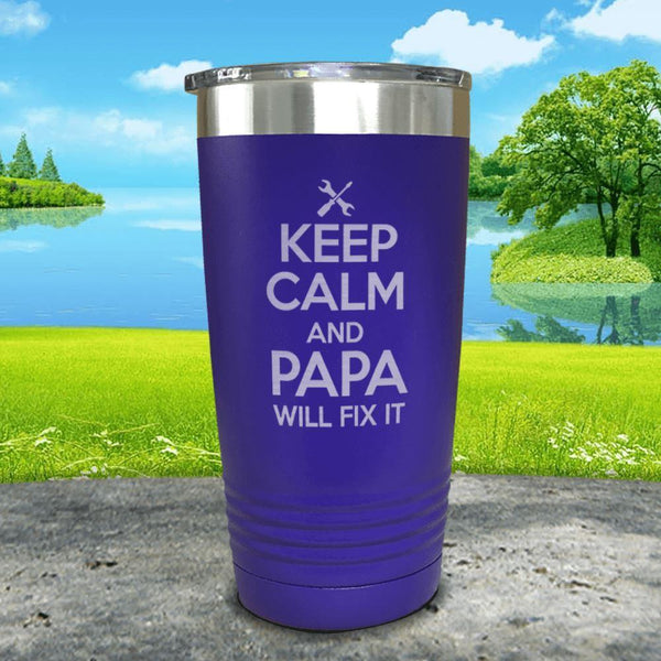 Keep Calm Papa Will Fix It Engraved Tumbler Tumbler ZLAZER 20oz Tumbler Royal Purple