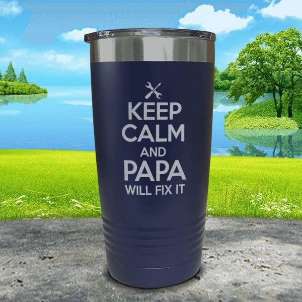 Keep Calm Papa Will Fix It Engraved Tumbler Tumbler ZLAZER 20oz Tumbler Navy