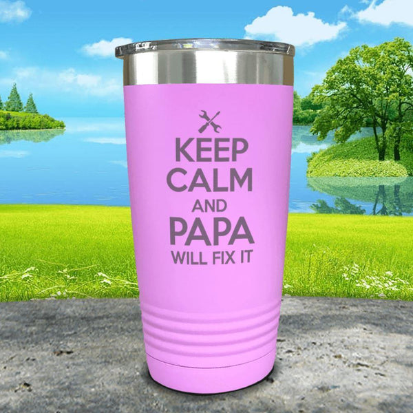 Keep Calm Papa Will Fix It Engraved Tumbler Tumbler ZLAZER 20oz Tumbler Lavender