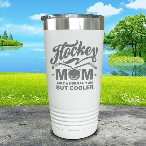 Hockey Mom But Cooler Engraved Tumblers Tumbler ZLAZER 20oz Tumbler White