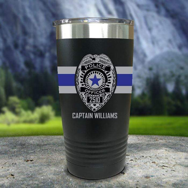 Personalized Police FULL Wrap Color Printed Tumblers Tumbler Nocturnal Coatings 20oz Tumbler Black