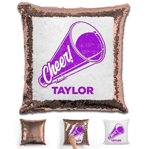 Cheerleader Personalized Magic Sequin Pillow Pillow GLAM Rose Gold Purple
