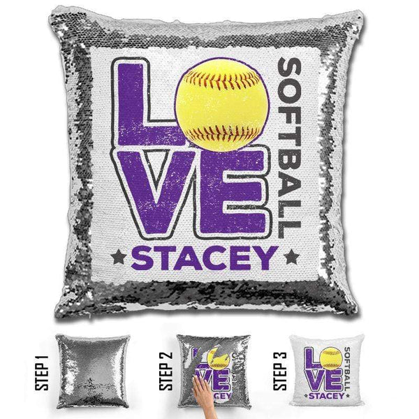 Personalized LOVE Softball Magic Sequin Pillow Pillow GLAM Silver Purple