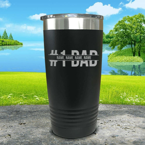 #1 Dad (CUSTOM) With Child's Name Engraved Tumbler Tumbler ZLAZER 20oz Tumbler Black