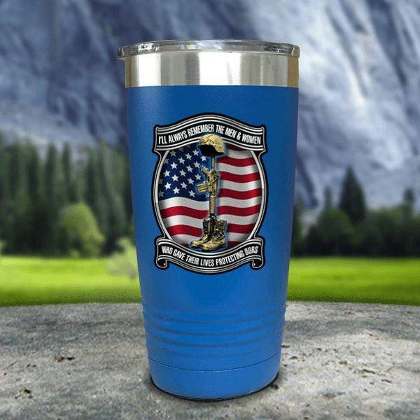 Veteran Always Remember Color Printed Tumblers Tumbler Nocturnal Coatings 20oz Tumbler Blue