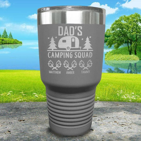 Dad's Camping Squad (CUSTOM) With Child's Name Engraved Tumblers Tumbler ZLAZER 30oz Tumbler Gray