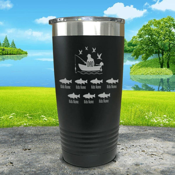 Fishing Dad (CUSTOM) With Child's Name Engraved Tumblers Tumbler ZLAZER 20oz Tumbler Black