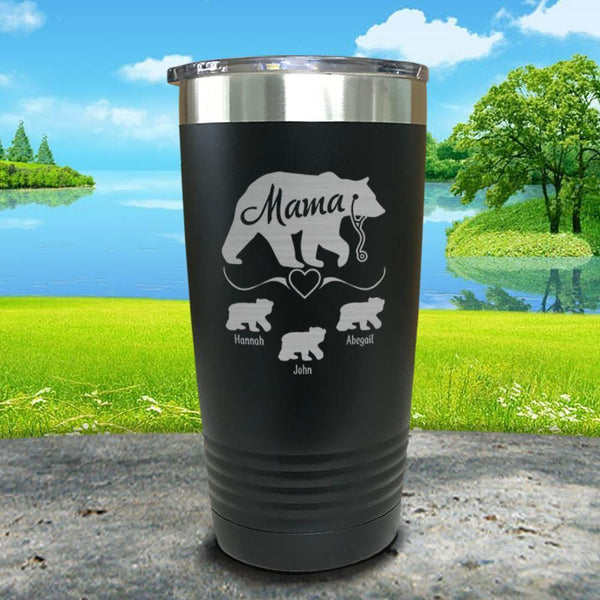 Mama Bear Nurse (CUSTOM) With Child's Name Engraved Tumblers Tumbler ZLAZER 20oz Tumbler Black