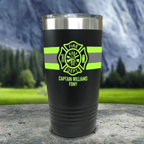 Personalized Firefighter FULL Wrap Color Printed Tumblers Tumbler Nocturnal Coatings 20oz Tumbler Black