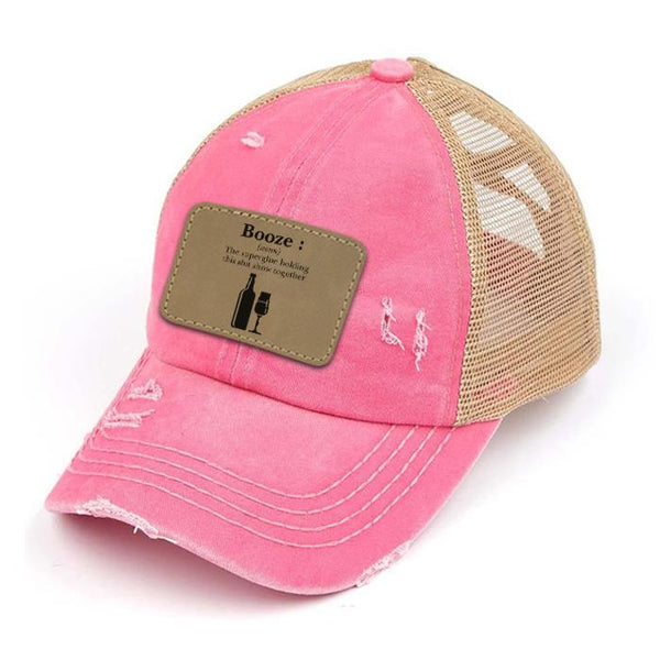 Engraved Distressed Booze Definition Patch Premium Ponytail Hat