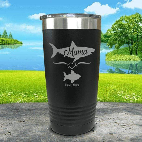 Mama Shark (CUSTOM) With Child's Name Engraved Tumblers Tumbler Southland 20oz Tumbler Black