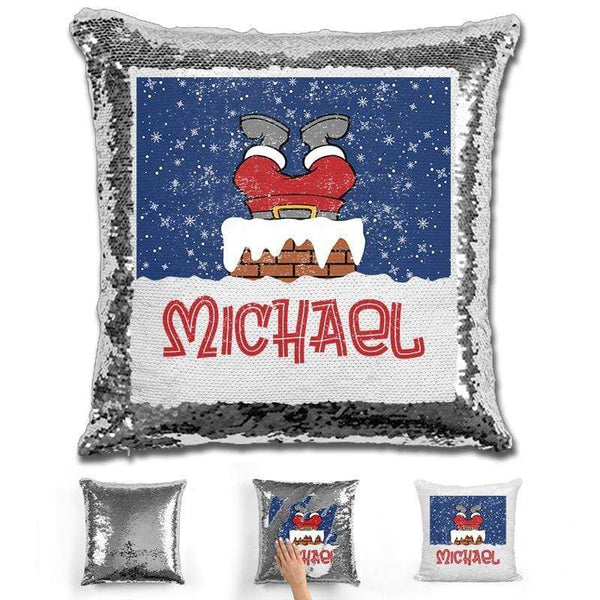 Personalized Santa Stuck In Chimney Christmas Magic Sequin Pillow Pillow GLAM Silver