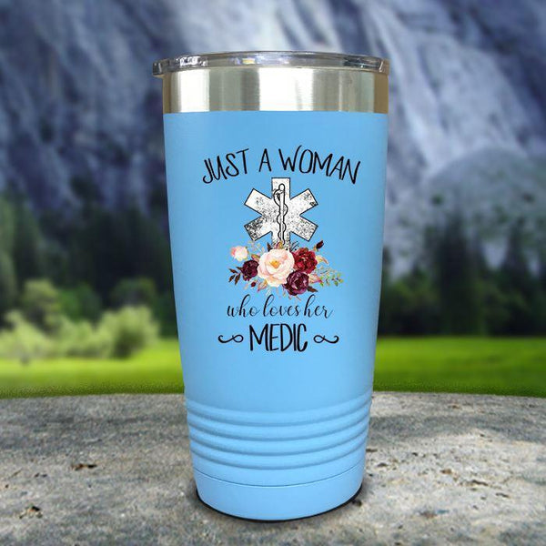 A Woman Who Loves Her Medic Color Printed Tumblers Tumbler Nocturnal Coatings 20oz Tumbler Light Blue