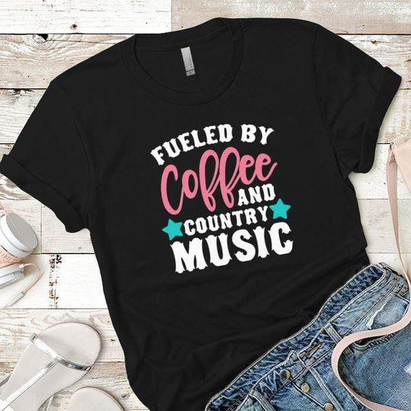 Fueled By Coffee 2 Premium Tees T-Shirts CustomCat Black X-Small