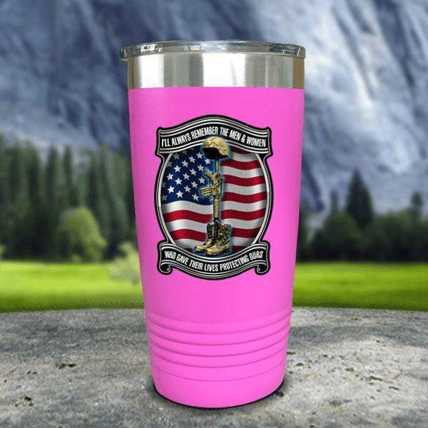 Veteran Always Remember Color Printed Tumblers Tumbler Nocturnal Coatings 20oz Tumbler Pink