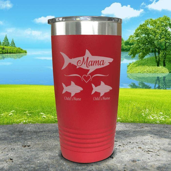 Mama Shark (CUSTOM) With Child's Name Engraved Tumblers Tumbler Southland 20oz Tumbler Red
