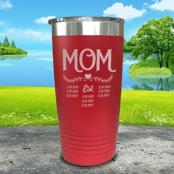 Mom Est (CUSTOM) Engraved Tumblers Tumbler ZLAZER 20oz Tumbler Red