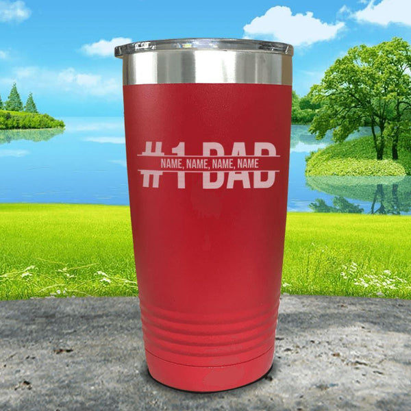 #1 Dad (CUSTOM) With Child's Name Engraved Tumbler Tumbler ZLAZER 20oz Tumbler Red