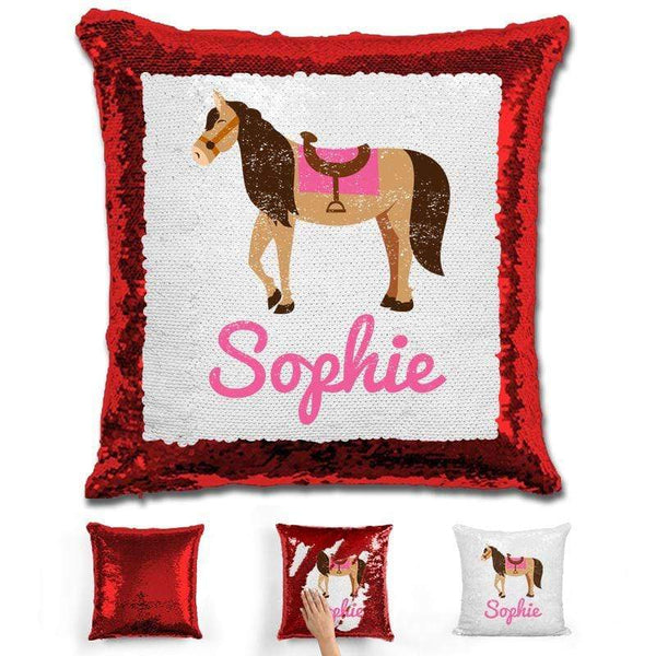 Horse Personalized Magic Sequin Pillow Pillow GLAM Red