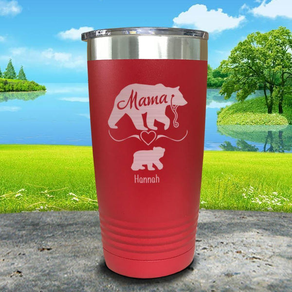Mama Bear Nurse (CUSTOM) With Child's Name Engraved Tumblers Tumbler ZLAZER 20oz Tumbler Red