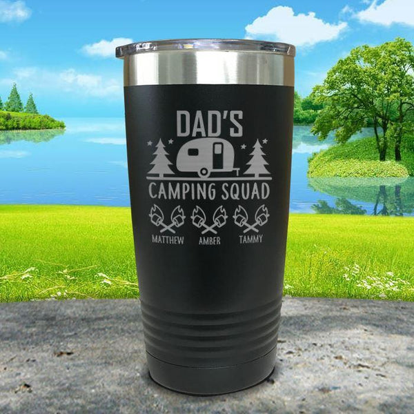 Dad's Camping Squad (CUSTOM) With Child's Name Engraved Tumblers Tumbler ZLAZER 20oz Tumbler Black