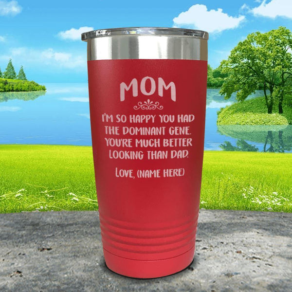 Mom Dominant Gene (CUSTOM) With Child's Name Engraved Tumbler Tumbler ZLAZER 20oz Tumbler Red