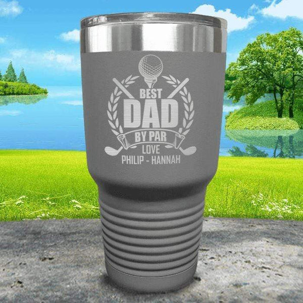 CUSTOM Best Dad By Par Engraved Tumblers Tumbler ZLAZER 30oz Tumbler Grey