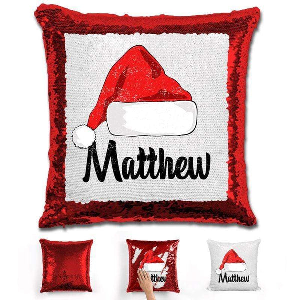 Personalized Santa Claus Hat Christmas Magic Sequin Pillow Pillow GLAM Red