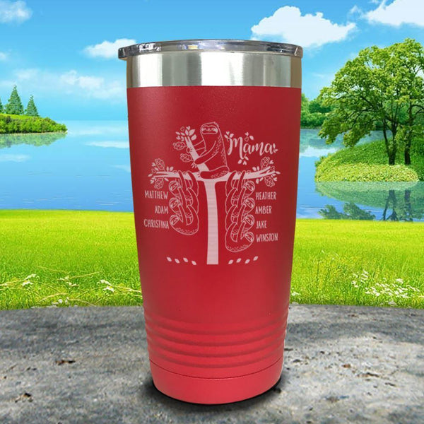 Sloth Mama (CUSTOM) With Child's Name Engraved Tumblers Tumbler ZLAZER 20oz Tumbler Red