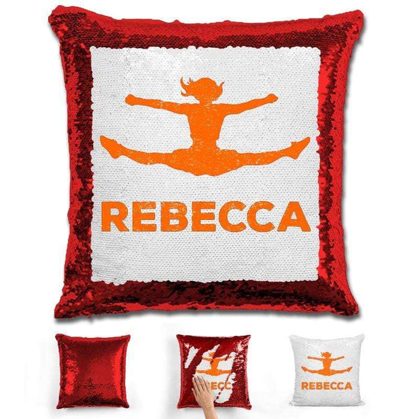 Competitive Cheerleader Personalized Magic Sequin Pillow Pillow GLAM Red Orange