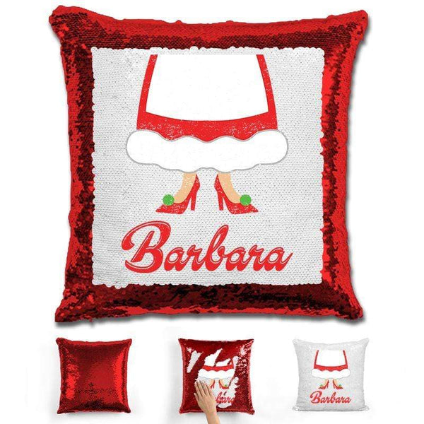 Personalized Mrs. Claus Christmas Magic Sequin Pillow Pillow GLAM Red