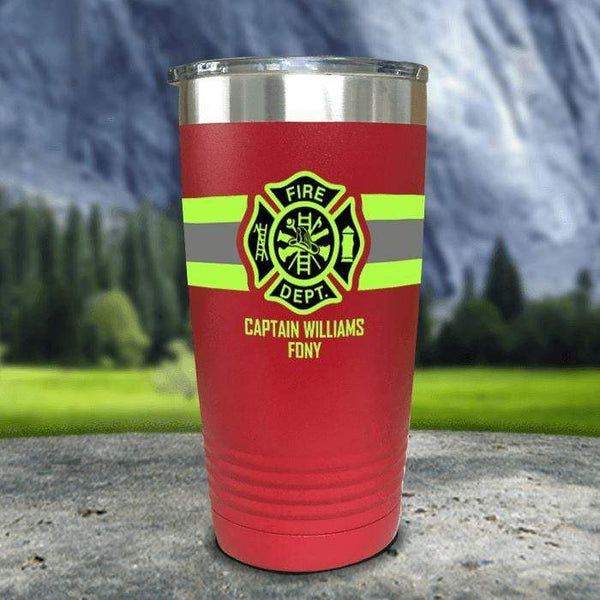 Personalized Firefighter FULL Wrap Color Printed Tumblers Tumbler Nocturnal Coatings 20oz Tumbler Red