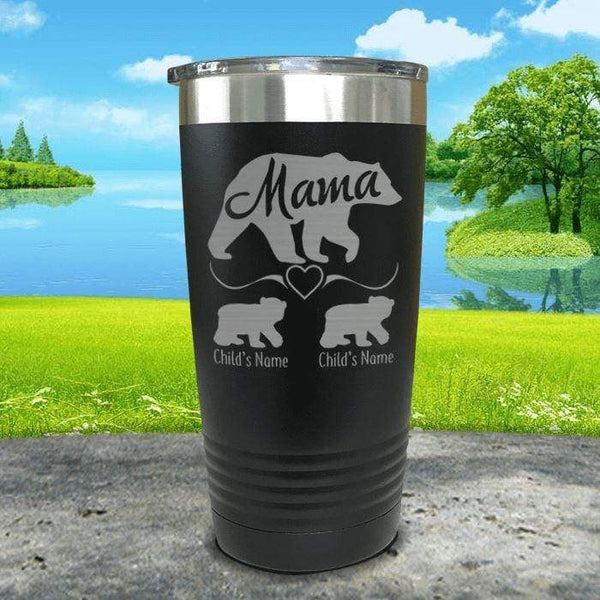 Mama Bear (CUSTOM) With Child's Name Engraved Tumblers Tumbler ZLAZER 20oz Tumbler Black