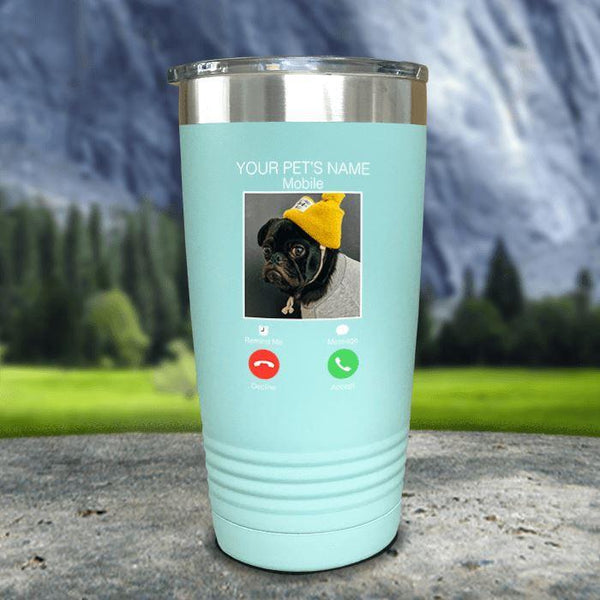 Personalized Pet Name & Photo Phone Color Printed Tumblers Tumbler Nocturnal Coatings 20oz Tumbler Mint