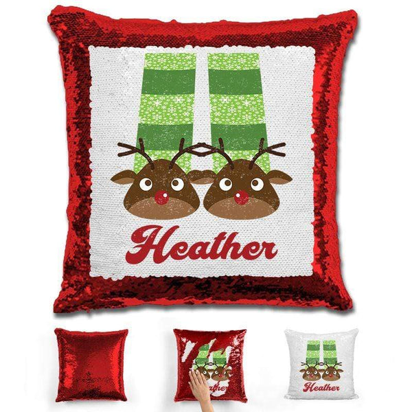 Personalized Slippers And Pajamas Christmas Magic Sequin Pillow Pillow GLAM Red