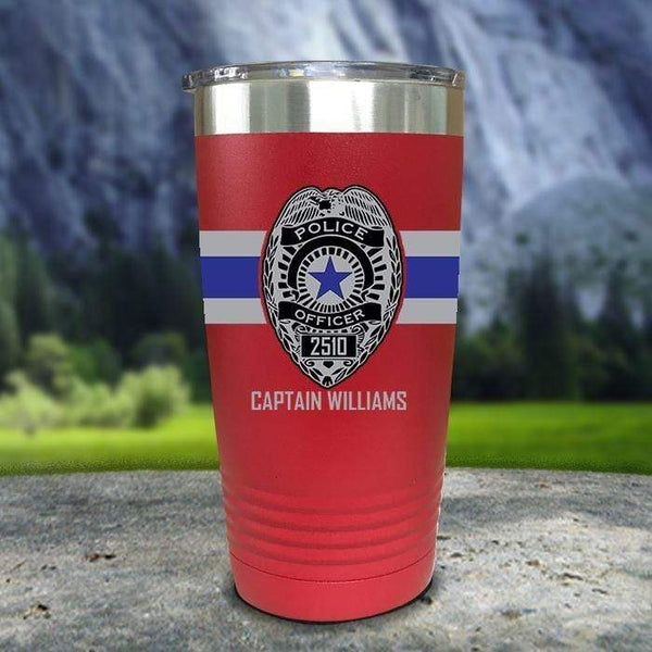 Personalized Police FULL Wrap Color Printed Tumblers Tumbler Nocturnal Coatings 20oz Tumbler Red